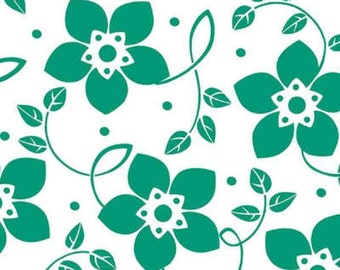 Large Bloom fabric in Emerald on White from the Brigitte Fabric Collection by Michelle D'Amore Designs for Contempo Studios and Benartex