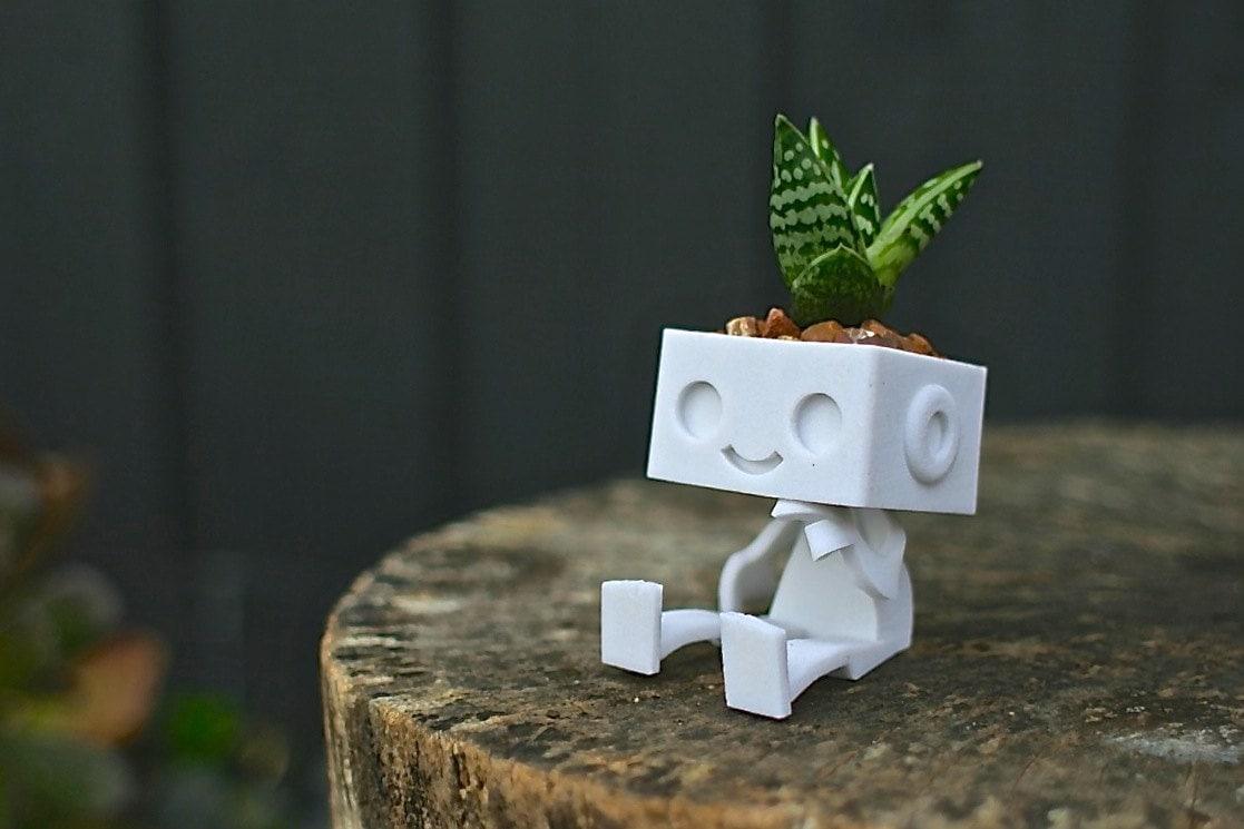 3dprinted Cute Robot Succulent Planter