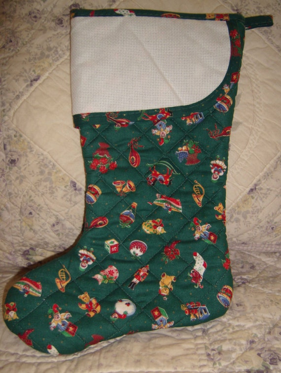 Charles craft quilted christmas stocking with counted for Charles craft christmas stockings