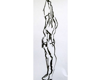 Reach (February 2014), original ink painting of nude male model life drawing mature