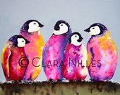Miniature Archival Watercolor Paper Print, Haute Penguins!, 4.25x5.5, Baby Emperor Penguins, Purple, Red, Pinks, Vibrant Colors