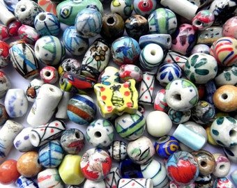 Beads - Assorted supper delux handmade Ceramic beads,Porcelain beads,pottery beads mix ONE POUNDS.