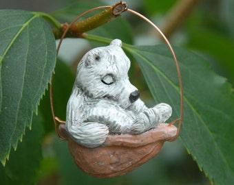 Sleeping Polar Bear Walnut Ornament