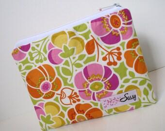 Bright Floral Fabric Cosmetic Bag, Medium Size Make up Bag, Makeup Travel Bag, Lined Makeup Bag