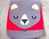 Backpack - The Honey Bear UNISEX BackPack (Gray Scarlet) 4 WEEKS TURNAROUND