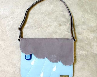 Kawaii Purse, Minimalist Crossbody, Vegan Crossbody Bag, Fabric Sling Bag, Clouds and Raindrops - CLOUDY DAYS, Gray LightBlue Color
