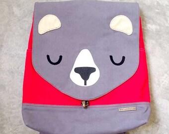 Bear Backpack, Bear Bag, Laptop Backpack, Diaper Backpack, Bear Diaper Bag, Padded Backpack, Gray Backpack, Red Backpack - GRAY RED Color