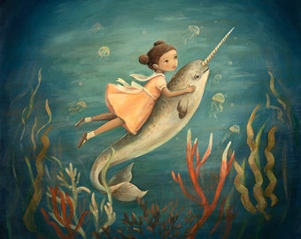 Dream Animals Narwhal Girl Print by Emily Winfield Martin