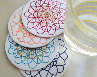 multicolor modern flower Gocco Screenprinted chipboard coasters