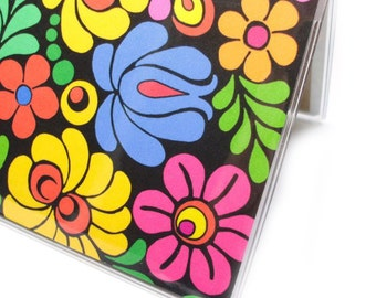 Checkbook Cover - Colorfloral Flowers - colorful folk art floral checkbook holder - vivid blossoms