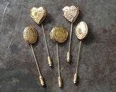 Vintage Brass Stick Pin Locket Wedding Groomsmen Gifts