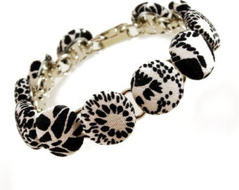 Black and White Kimono Button Bracelet, Fabric Covered Buttons