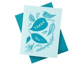 Nature Thank You Card - Leaves (teal)