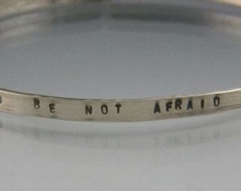 Personalized hammered argentium Sterling Bangle Use your own words