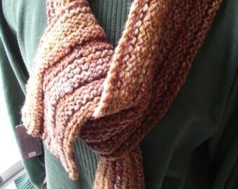 Handspun Hand knit Soft Merino Scarf