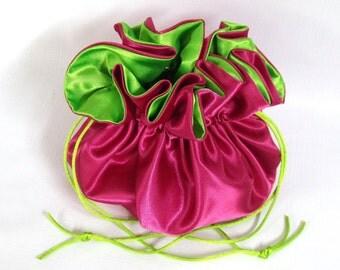 Wedding Bag  Satin Bridal Money Purse   Fuchsia and Lime No Pockets