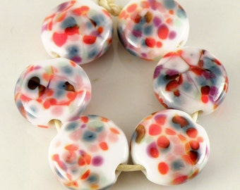 Carousel Lentils - Handmade Lampwork Beads - 18mm - Orange, Blue, Purple, White - SRA (Set of 6 Beads)