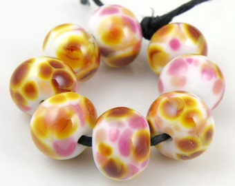Strawberry Caramel - Handmade Artisan Lampwork Glass Beads 8mmx12mm - Gold, Pink, Amber, White - SRA (Set of 8 Beads)
