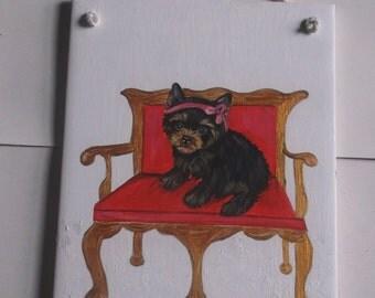 Yorkshire Terrier Yorkie Dog Hand Painted Ceramic Tile OOAK Painting
