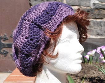 Purple Chevron Ripple Crochet Hat for Women- Lightweight Beret - Women's Hat - Price drop