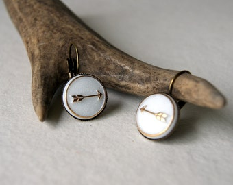 Gold and White Arrow Earrings - Arrow Earrings - Gold Arrow Earrings - vintage glass arrow cab earrings - bohemian jewelry