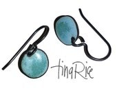 Turquoise and Water Blue teeny tiny drops artisan enamel earrings by tina rice