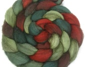 Handpainted Heathered BFL Roving - 4 oz. HOLLY BERRY - Spinning Fiber