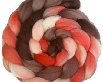 Handpainted Superwash Merino Nylon 80/20 Sock Roving - 4 oz. RETRO GIRL - Spinning Fiber