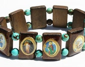 Wooden Catholic Saints Bracelet Elastic Stretch Wood Jewelry