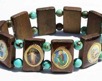 Wooden Catholic Saints Bracelet Elastic Stretch Wood Jewelry