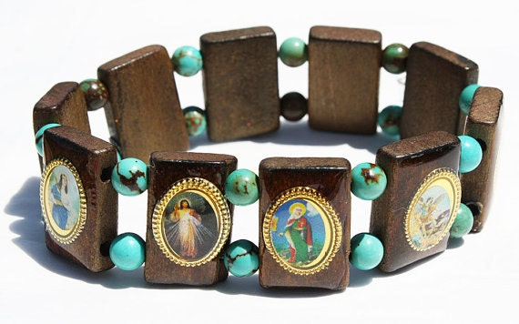catholic saints bracelet wooden catholic saints bracelet elastic stretch wood jewelry 9483