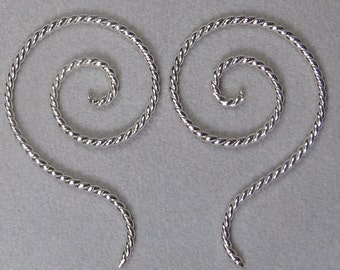 Sterling silver, 16 gauge, Spiral Drop, twisted wire earrings, #5
