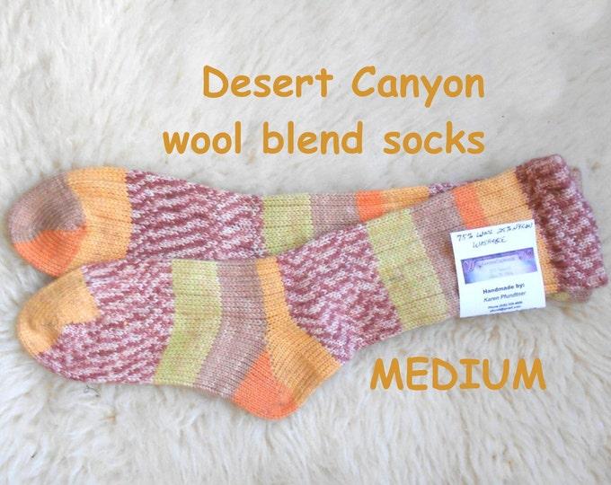 Desert Canyon Socks --- wool acrylic blend ---  MEDIUM