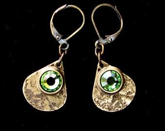 Granite Textured Brass Teardrops with Peridot Crystal Leverback Earrings