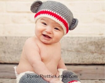 Baby Sock Monkey Hat and Leg Warmer Set