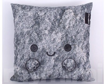 "16 x 16"" Grey Pillow, Stone Pillow, Rock Pillow, Man Cave Decor, Faux Rock, Kawaii Pillow, Dorm Decor, Nature Decor, Zen Pillow"