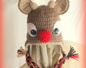 Children's -Rudolph The Red-Nosed Reindeer Hat- Fleece LIned- You Pick Size (12m,18m, 2T, 3T, Youth Small (4-6) )