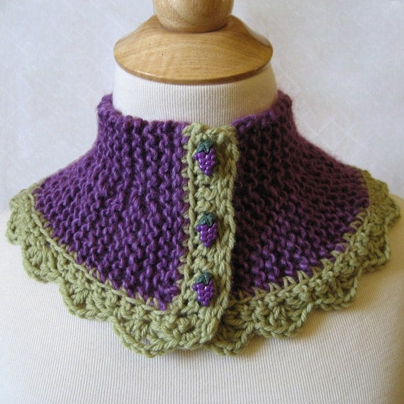 Hand Knitted Cowl Collar Scarf - The Grapes of Wrap - Purple and Green Crochet Wool Lace