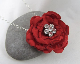 Handmade Fabric Flower Necklace - Vintage Floral Brooch Necklace - Vibrant Red