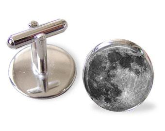 Full Moon Cufflinks - 16mm Round - Men's Cufflinks