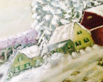 Vintage Original Art Signed Oil Painting Rural Snow Winter Scene Folkart TRUMP