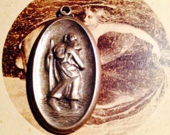 Big ST. CHRISTOPHER MEDAL Vintage Sterling Engraved
