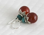 Hill TRIBE Sterling Silver Carnelian and Turquoise Drop Earrings