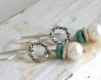 PEARL DROP Turquoise Sterling & Hill Tribe Silver Dangle Drop Earrings // luluglitterbug