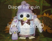 D.I.Y. Diaper Penguins - Instructions for Diaper Cake Topper - Penguins - Baby Shower Gift - Centerpiece