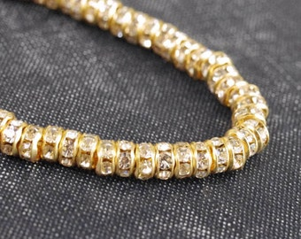 5mm Gold Plated Czech Rhinestone Disco Rondelle Beads - Clear Crystal - 12pcs