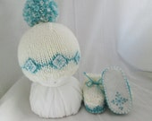 Blue Snowflake Knit Baby Hat and Booties Set