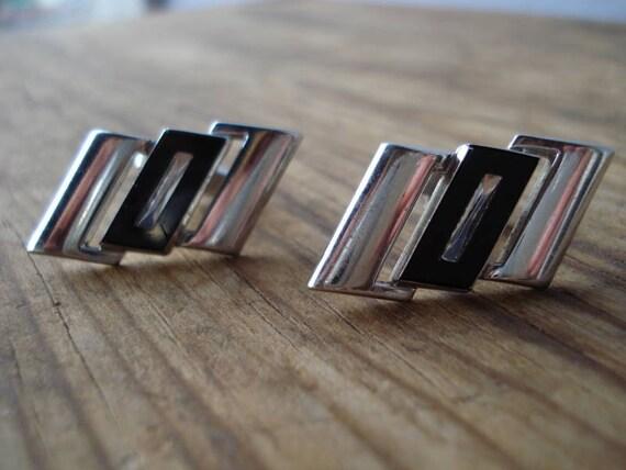 Vintage 1970s CuffLinks Mod Silver Crystal 2012405b