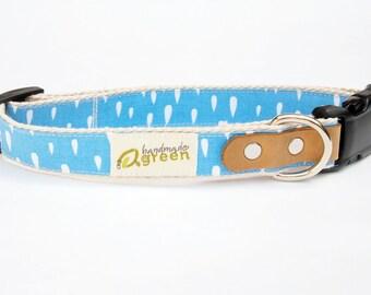 Spring Showers. Light blue white raindrops. Eco-Friendly Dog Collar. Adjustable Sizing.