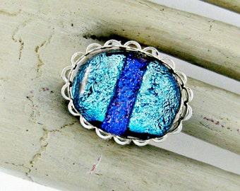 Blue Dichroic Fused Glass Adjustable Ring